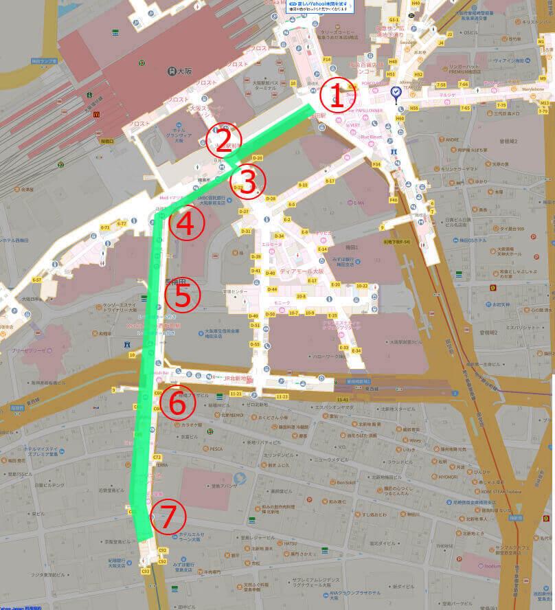 ホテルエルセラーン大阪までの地図